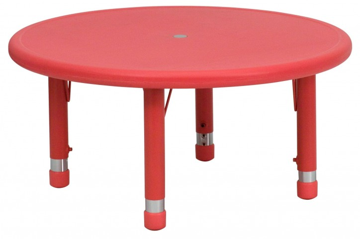 "33"" Round Height Adjustable Red Plastic Activity Table"