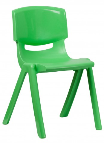 "31.5""H Green Plastic Stackable School Chair"