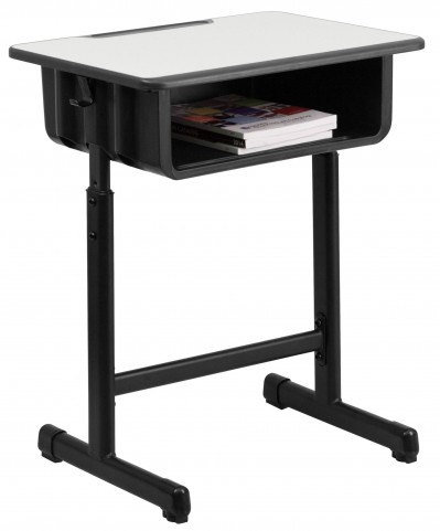 Gray Top Student Desk with Adjustable Height Black Pedestal Frame