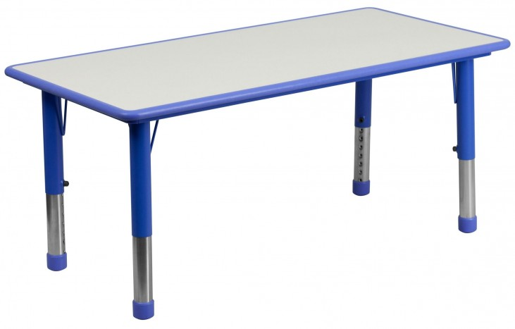 47.25'' Adjustable Height Rectangular Blue Plastic Activity Table