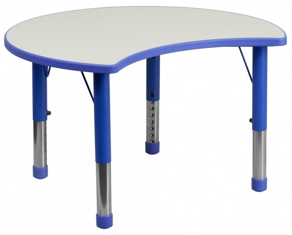 Adjustable Height Cutout Circle Blue Plastic Activity Table