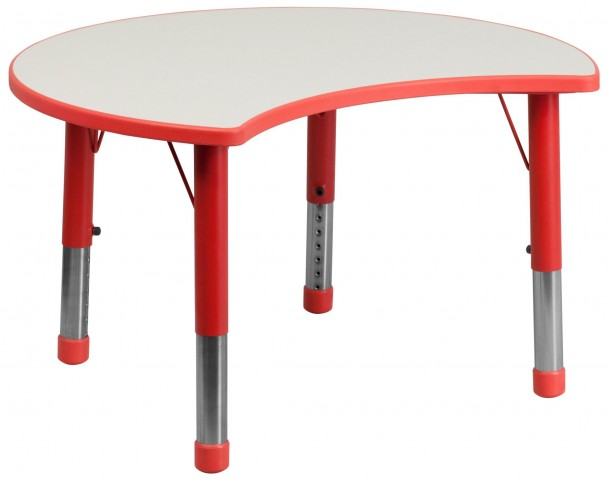 Adjustable Height Cutout Circle Red Plastic Activity Table