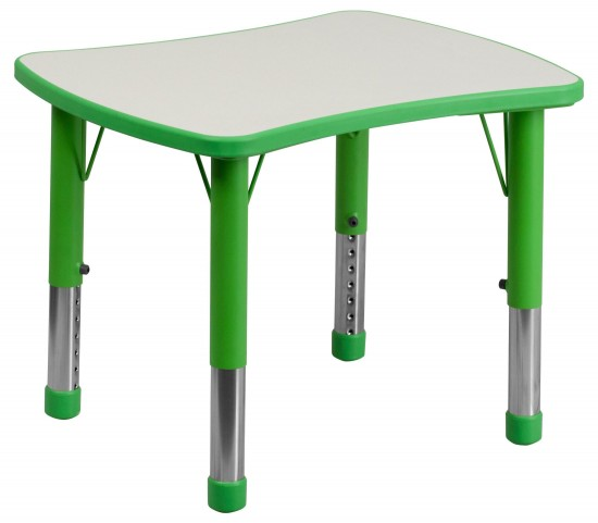 Height Adjustable Rectangular Green Plastic Activity Table