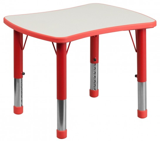 Height Adjustable Rectangular Red Plastic Activity Table