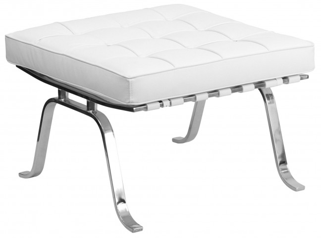 Hercules Flash Series White Leather Ottoman