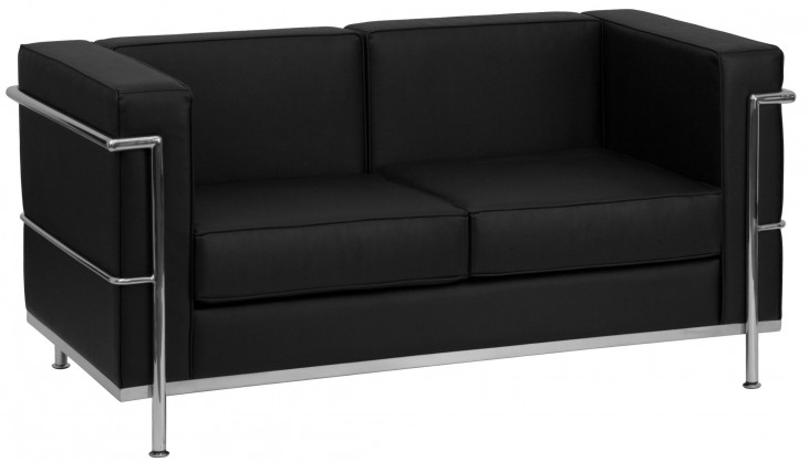 Hercules Regal Series Black Leather Loveseat