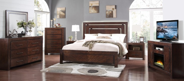 City Lights Dark Chocolate Platform Bedroom Set