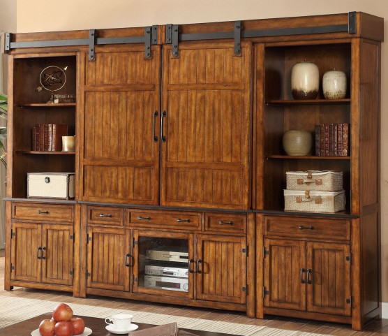 Industrial Chestnut Entertainment Wall with Doors