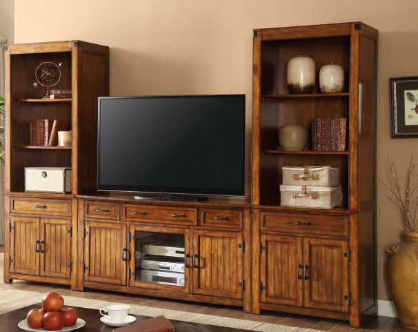 Industrial Chestnut Entertainment Wall