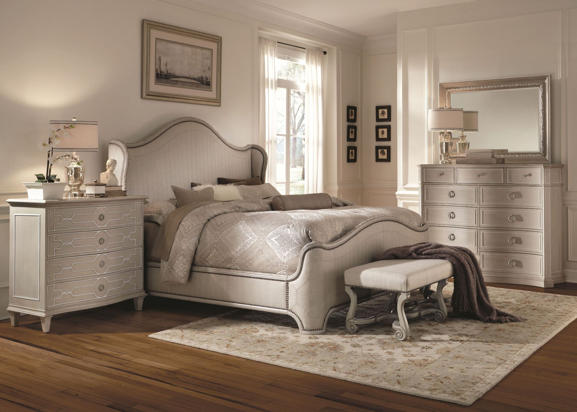 Chateaux grey upholstered shelter bedroom set from art for Gray bedroom furniture sets