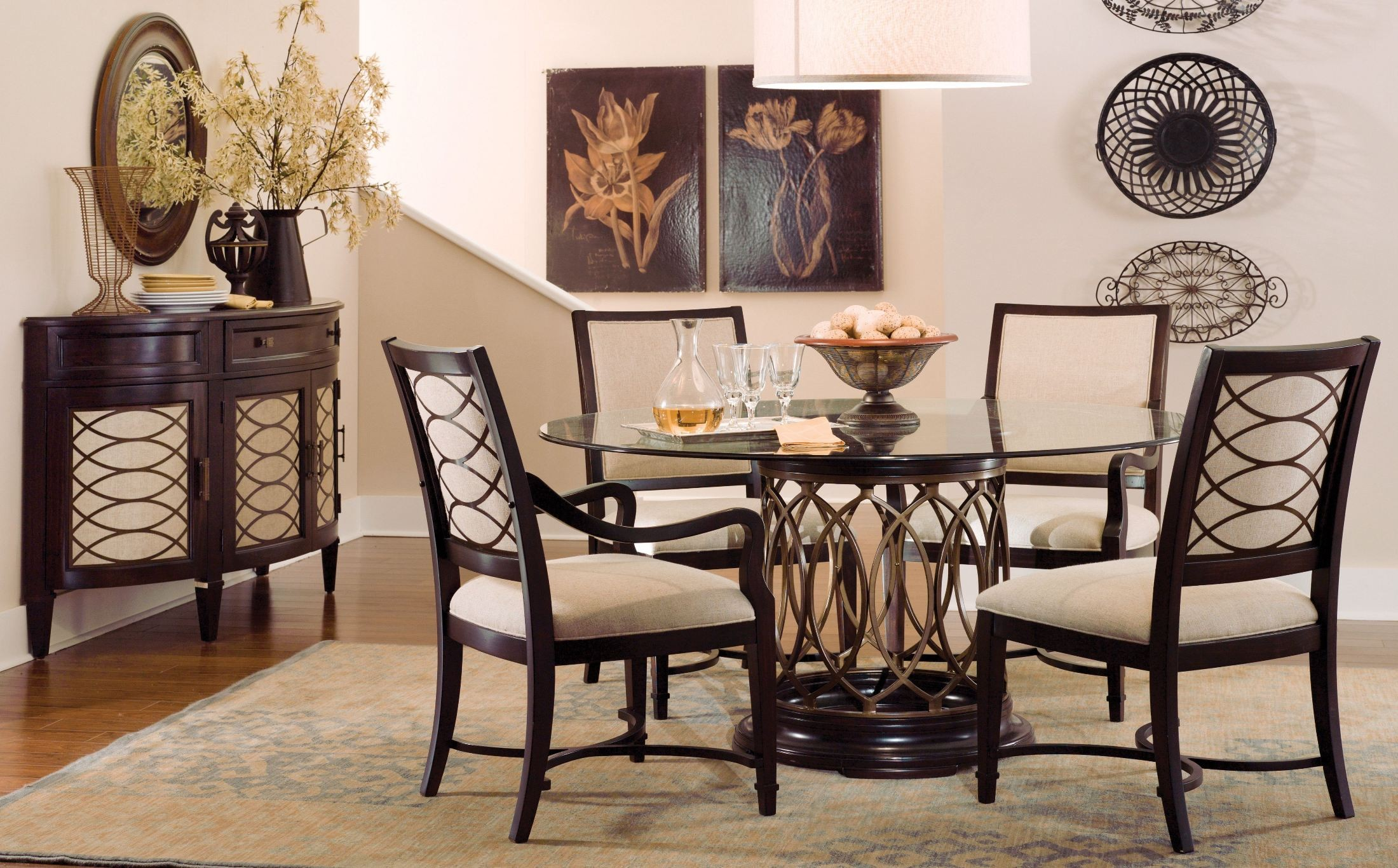 intrigue round glass top dining room set from art 161224 2636