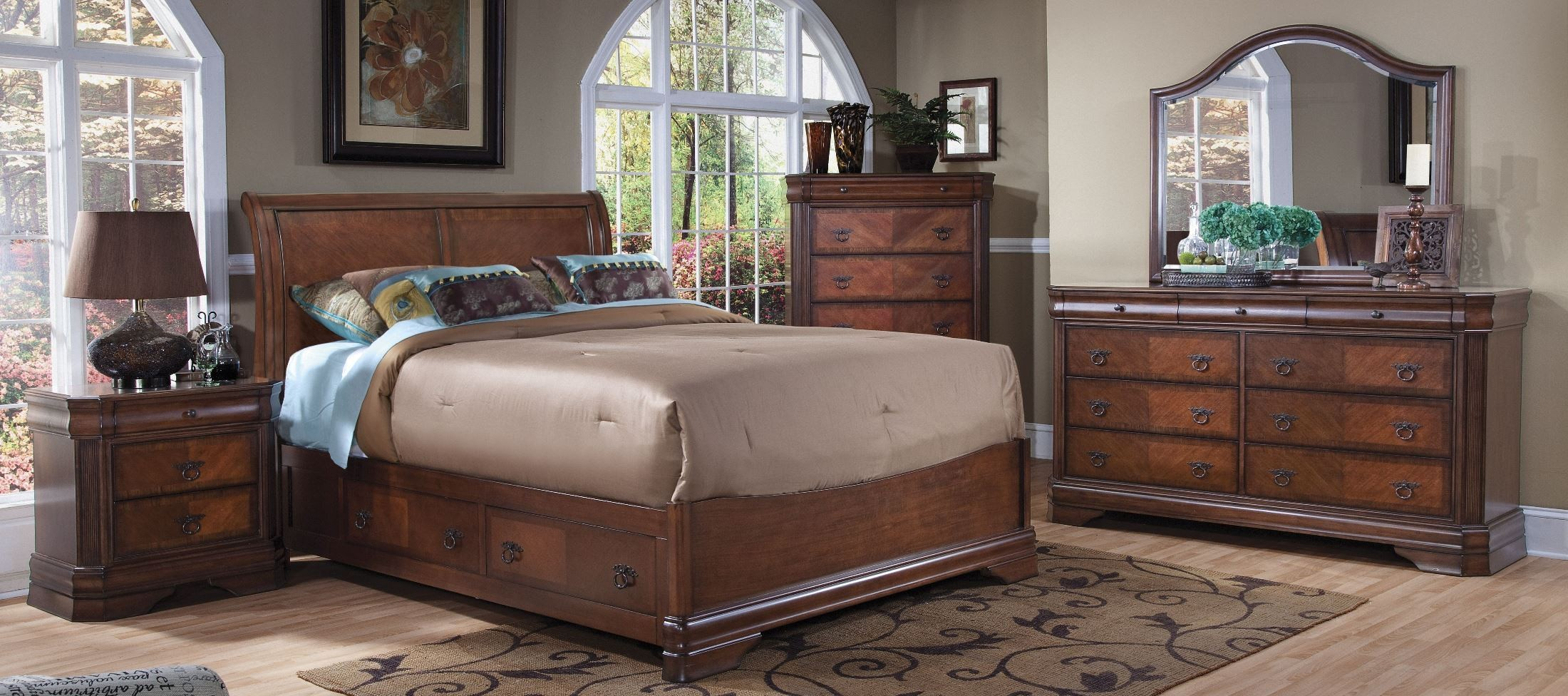 Sheridan Burnished Cherry Sleigh Storage Bedroom Set From New Classics Coleman Furniture