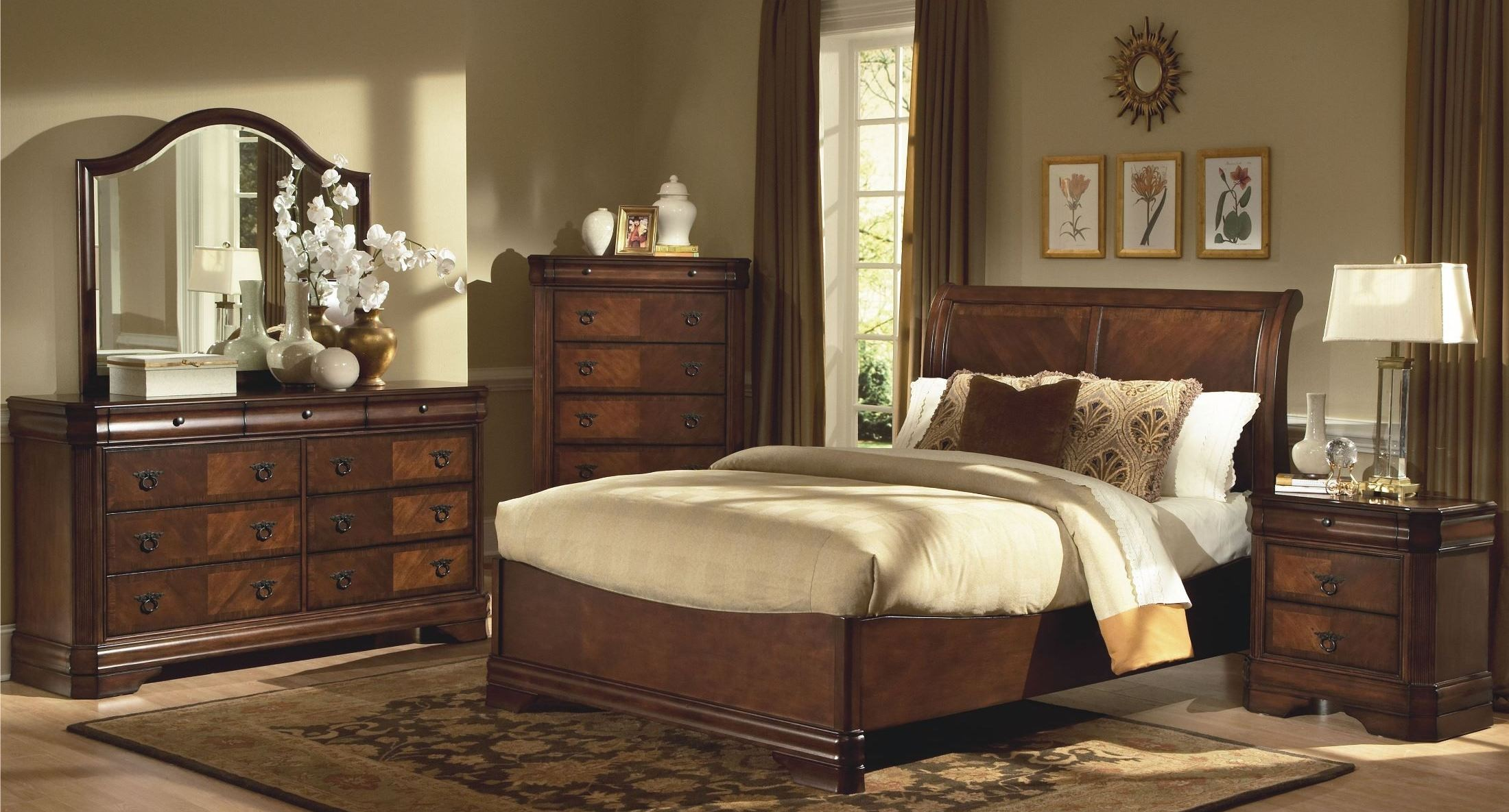 Sheridan Burnished Cherry Sleigh Bedroom Set From New Classics 00 005 310 320 330 Coleman