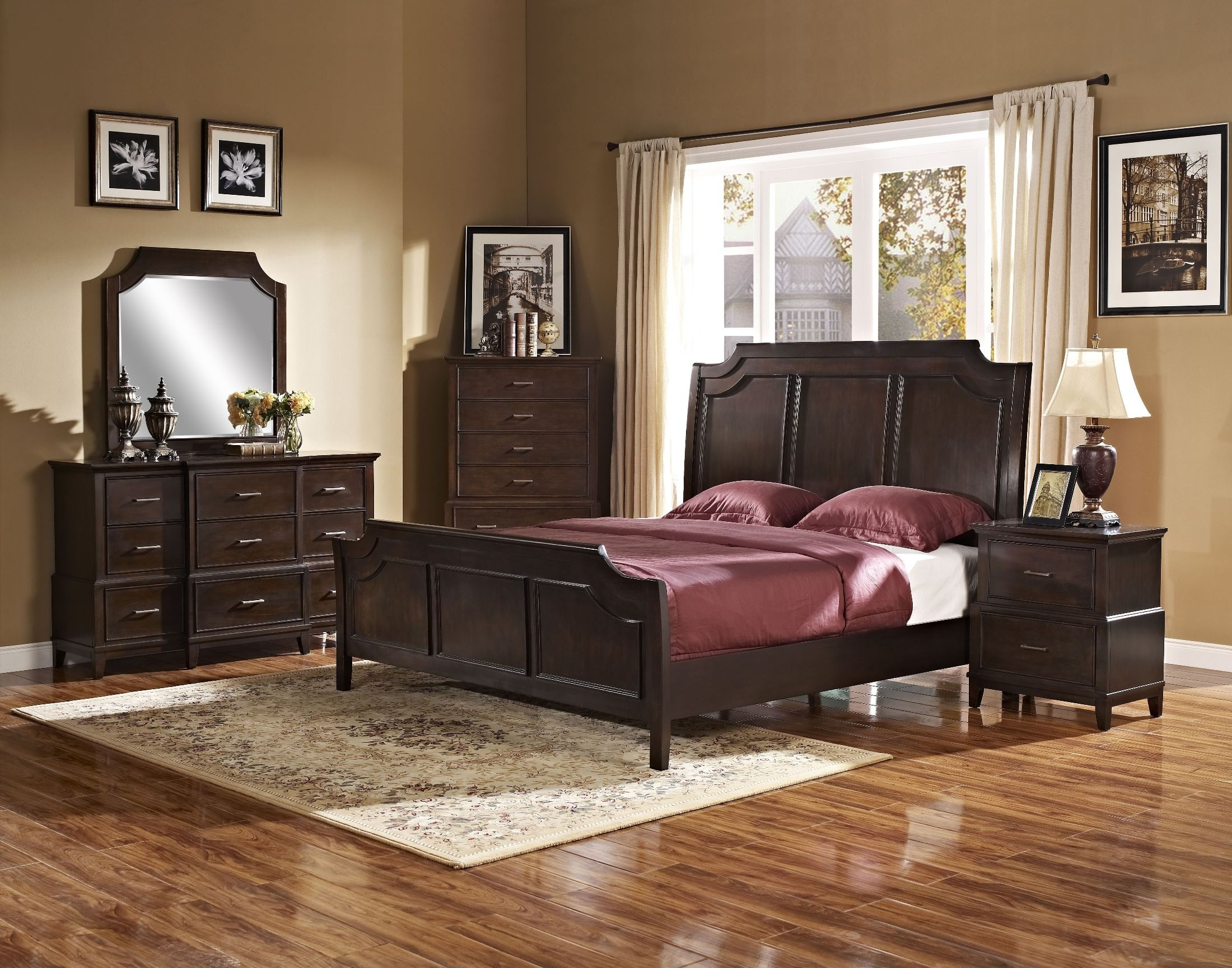 Highland Park Distressed Walnut Panel Bedroom Set From New Classics 00 128 310 320 330