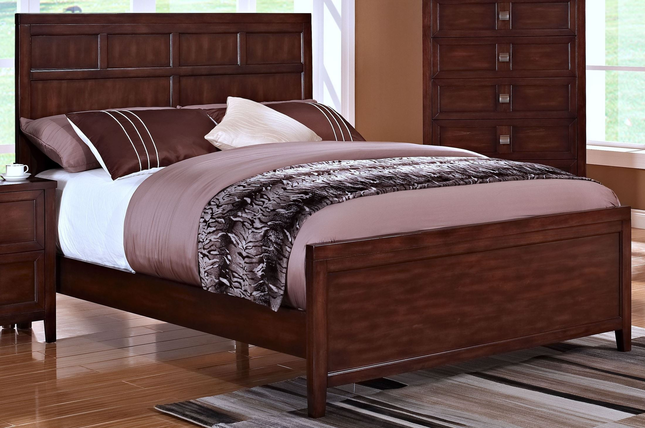 Ridgecrest distressed walnut panel bedroom set from new for Walnut bedroom furniture