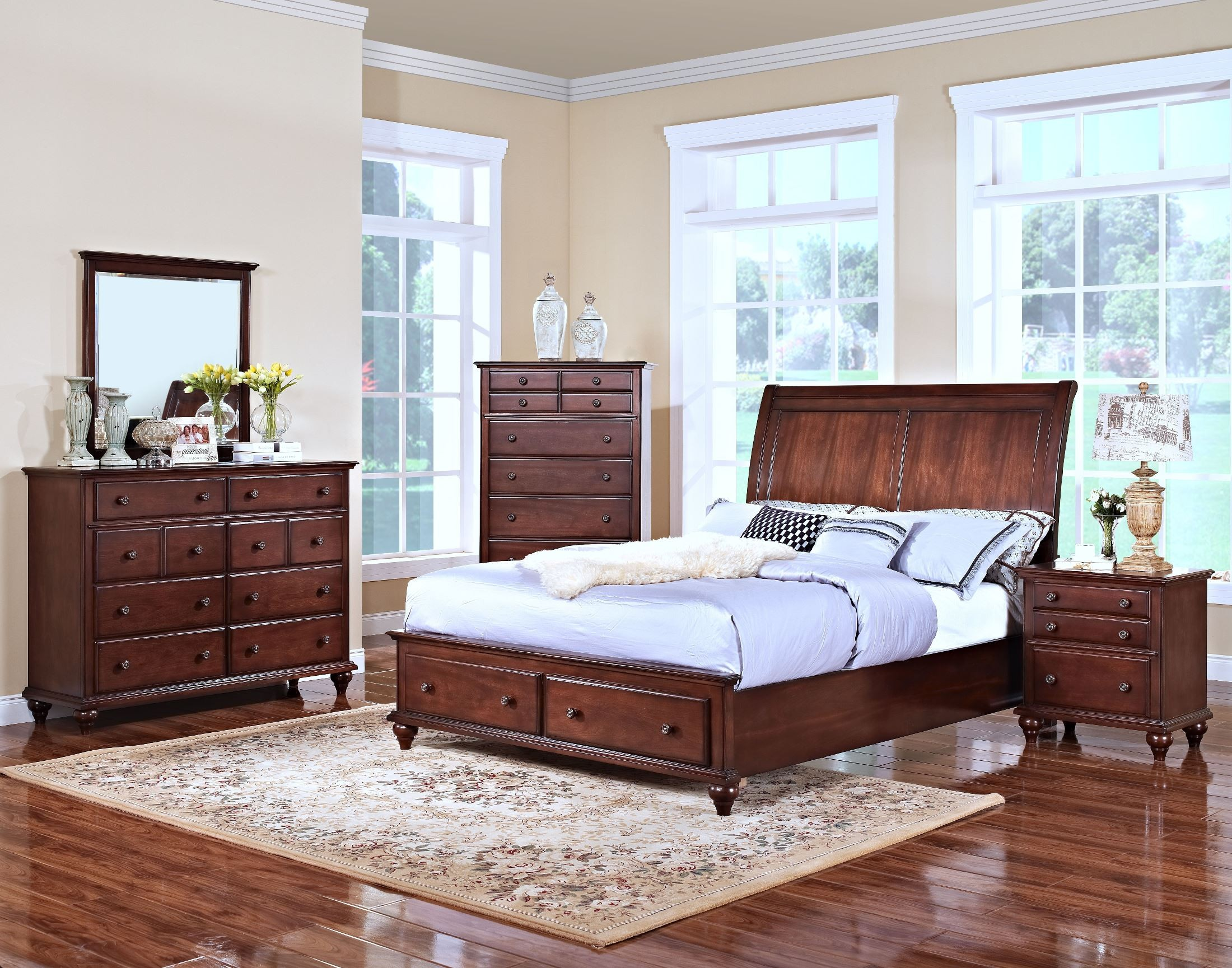 Spring Creek Tobacco Full Sleigh Storage Bed From New Classics 05 146 410 428 430 Coleman