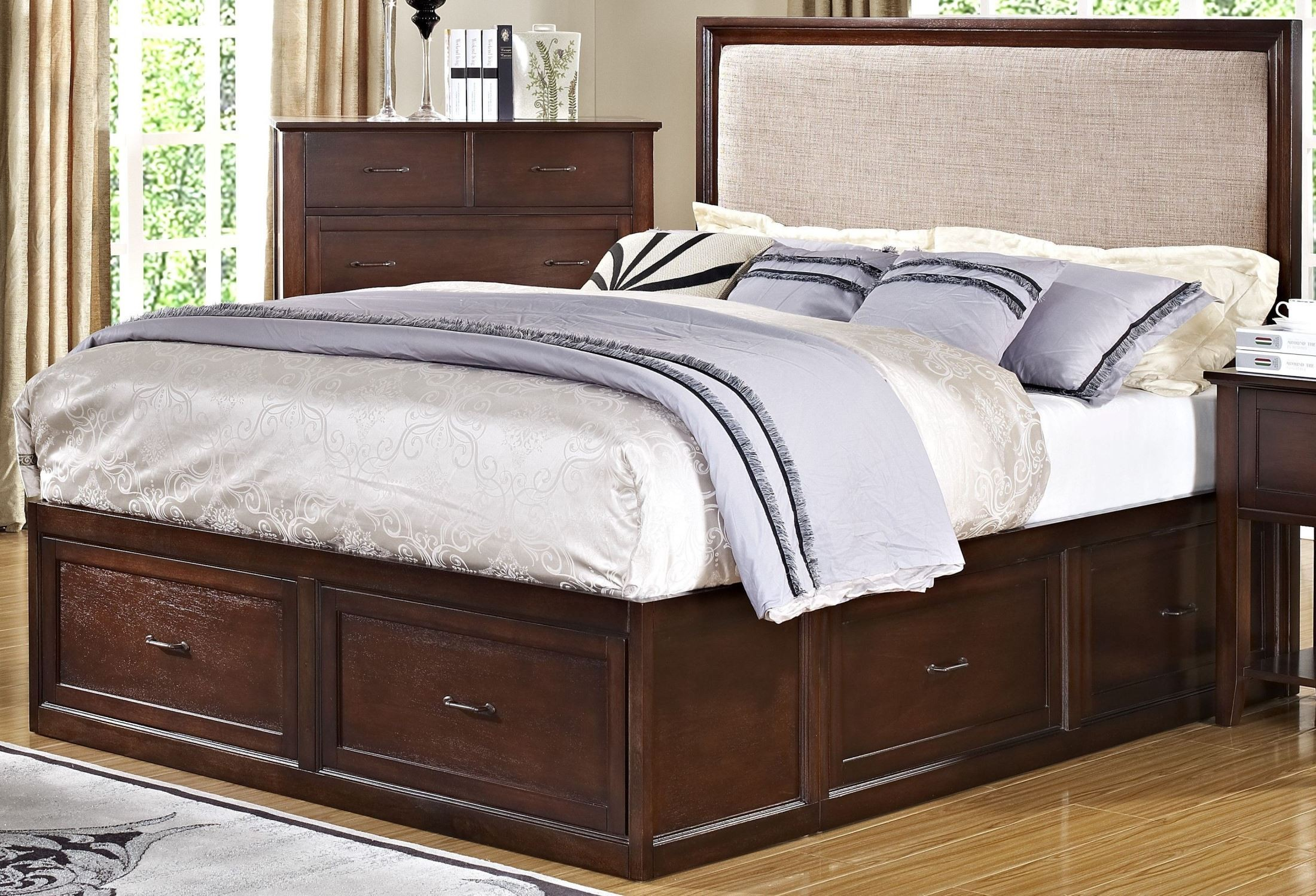 serenity african chestnut storage bedroom set from new
