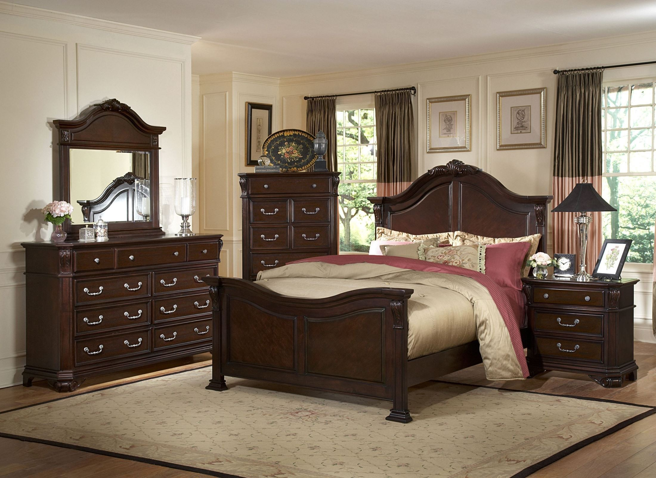 Emilie tudor brown king panel bed from new classics 1841 for Classic home collection