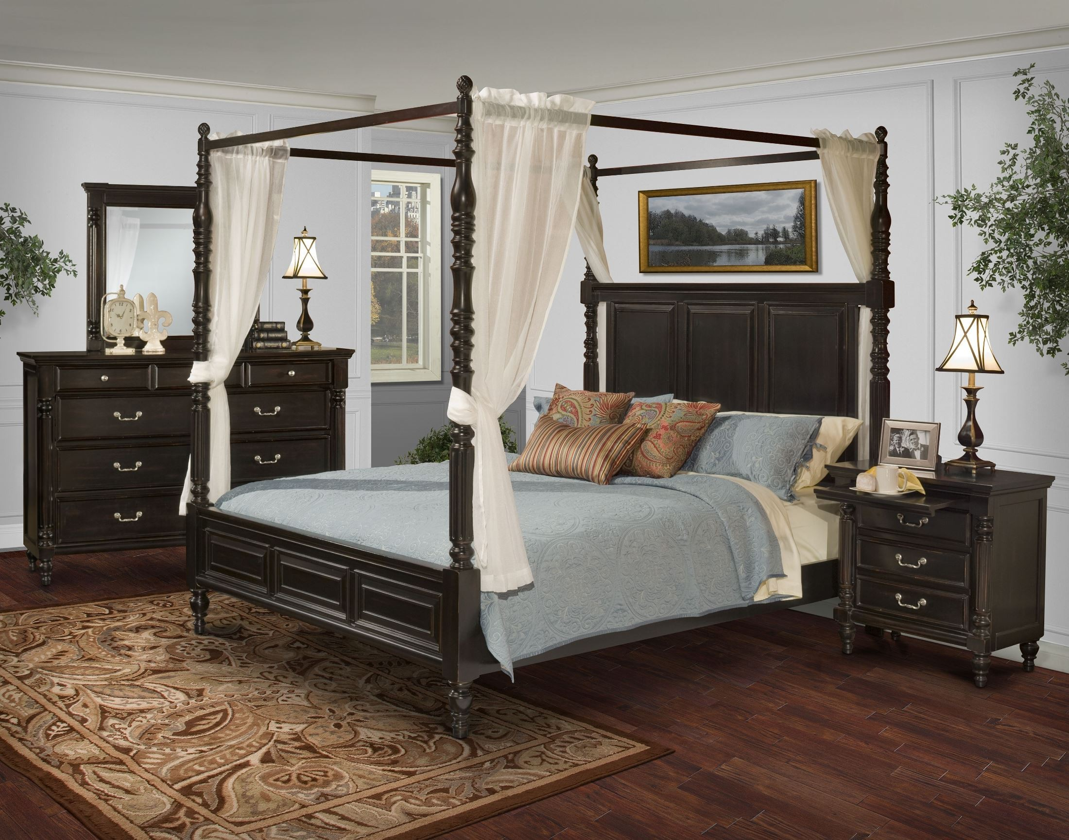 Martinique rubbed black cal king canopy bed with drapes for Canopy bedroom sets