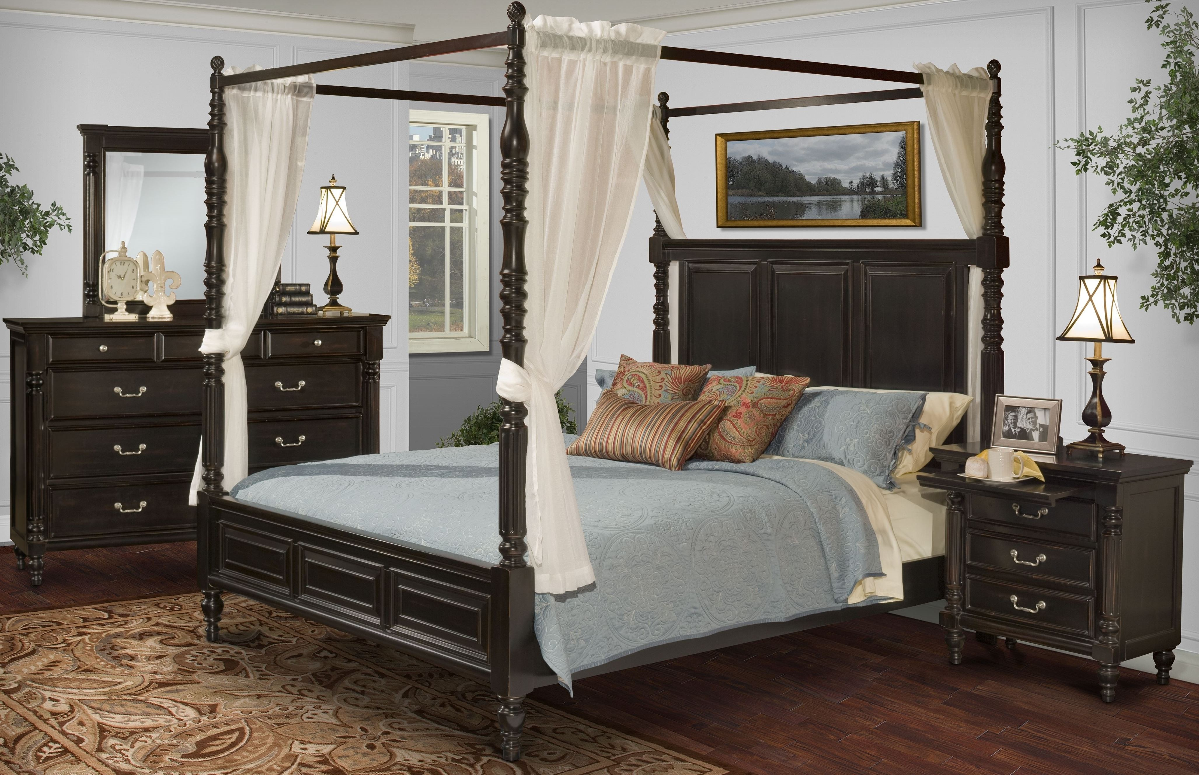 Martinique Rubbed Black Canopy Bedroom Set With Drapes from New ...