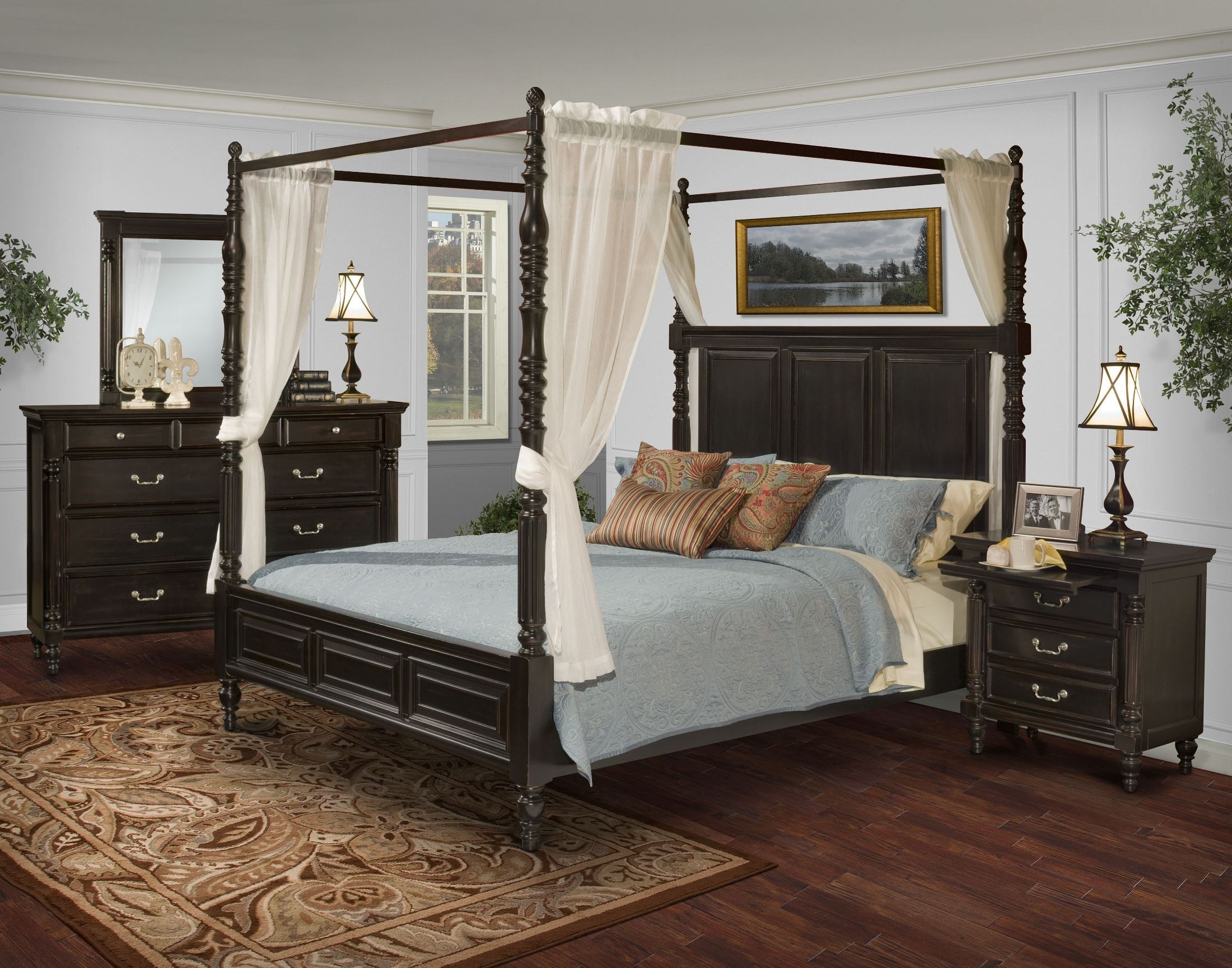 Martinique rubbed black canopy bedroom set with drapes for Where to get bedroom furniture