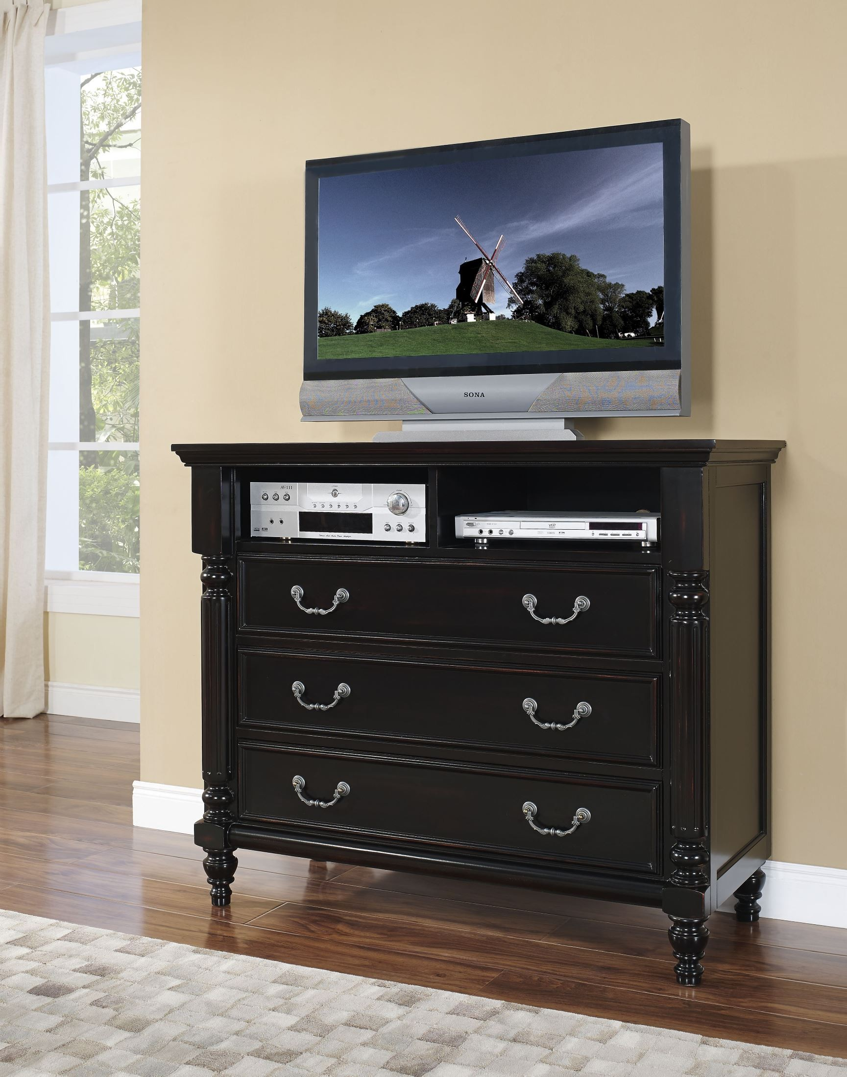 Media Chest For Bedroom Martinique Rubbed Black Canopy Bedroom Set With Drapes From New
