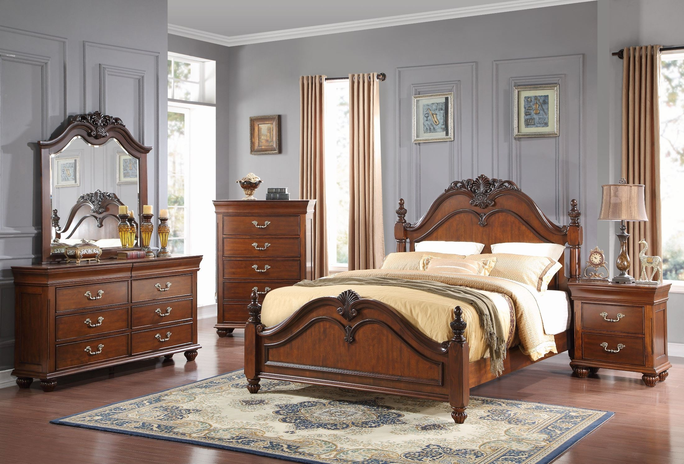 Jaquelyn Cherry Cal King Poster Bed From New Classics