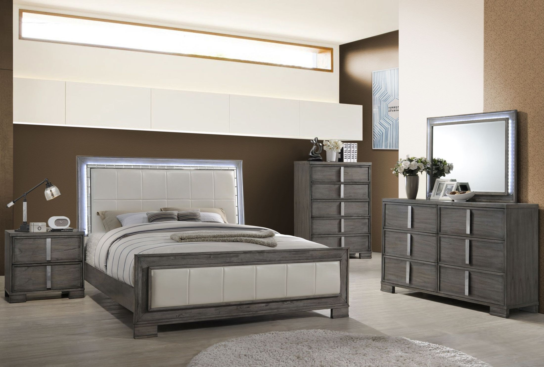 Edgewater Gray Panel Bedroom Set B9731 310 320 330 New