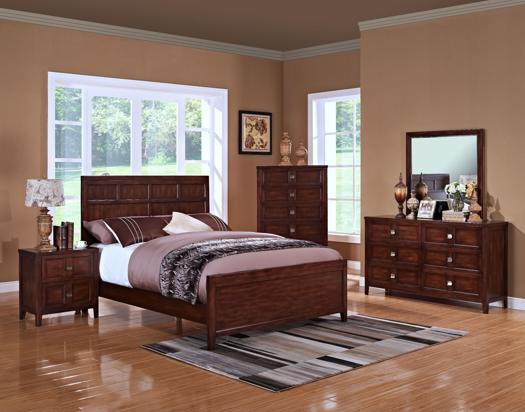 ridgecrest distressed walnut youth panel bedroom set from new classics