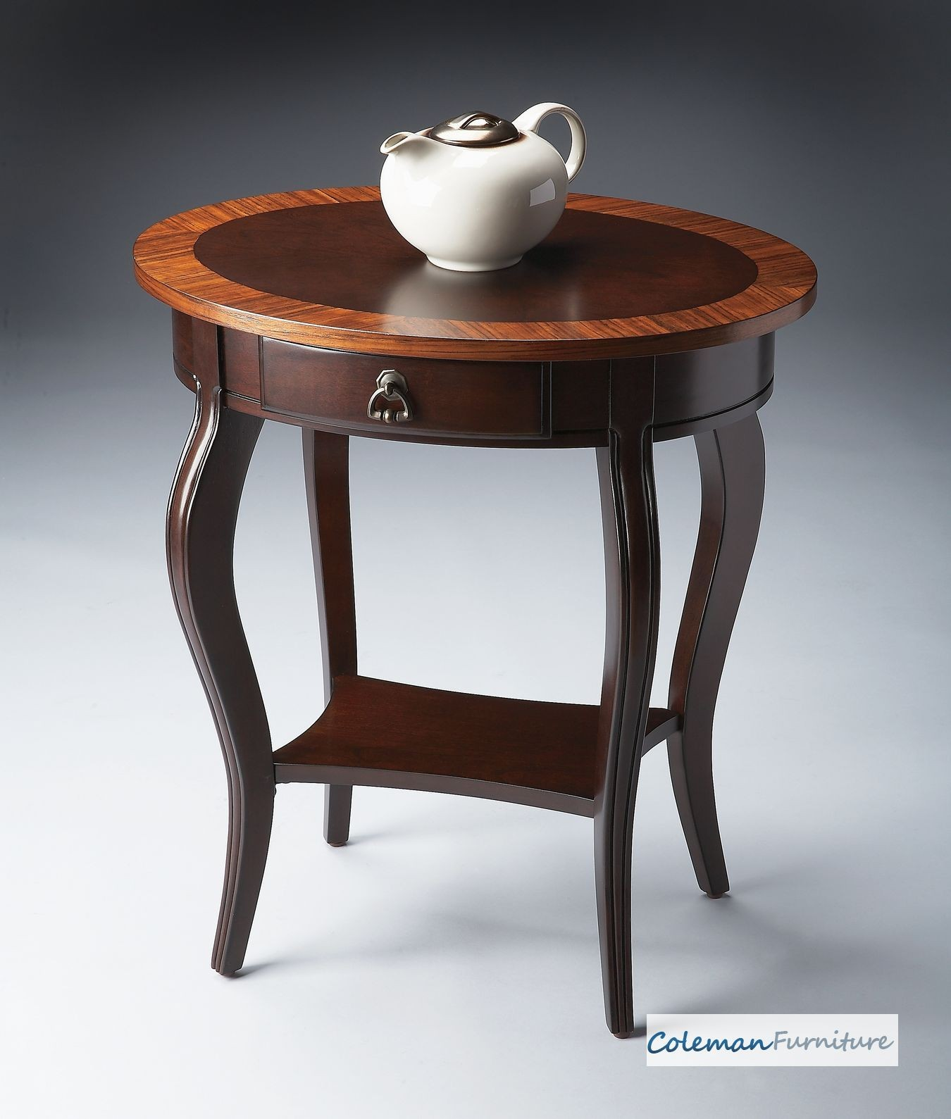 Cherry Side Table ~ Cherry nouveau oval accent table from butler