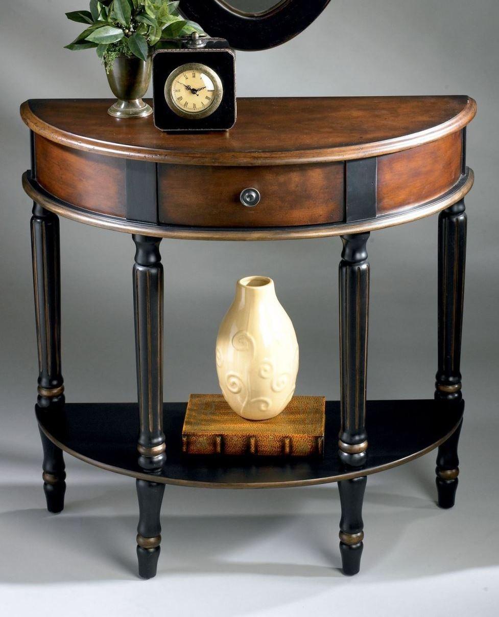 Mozart cafe noir demilune console table 0667104 butler - Table console noire ...