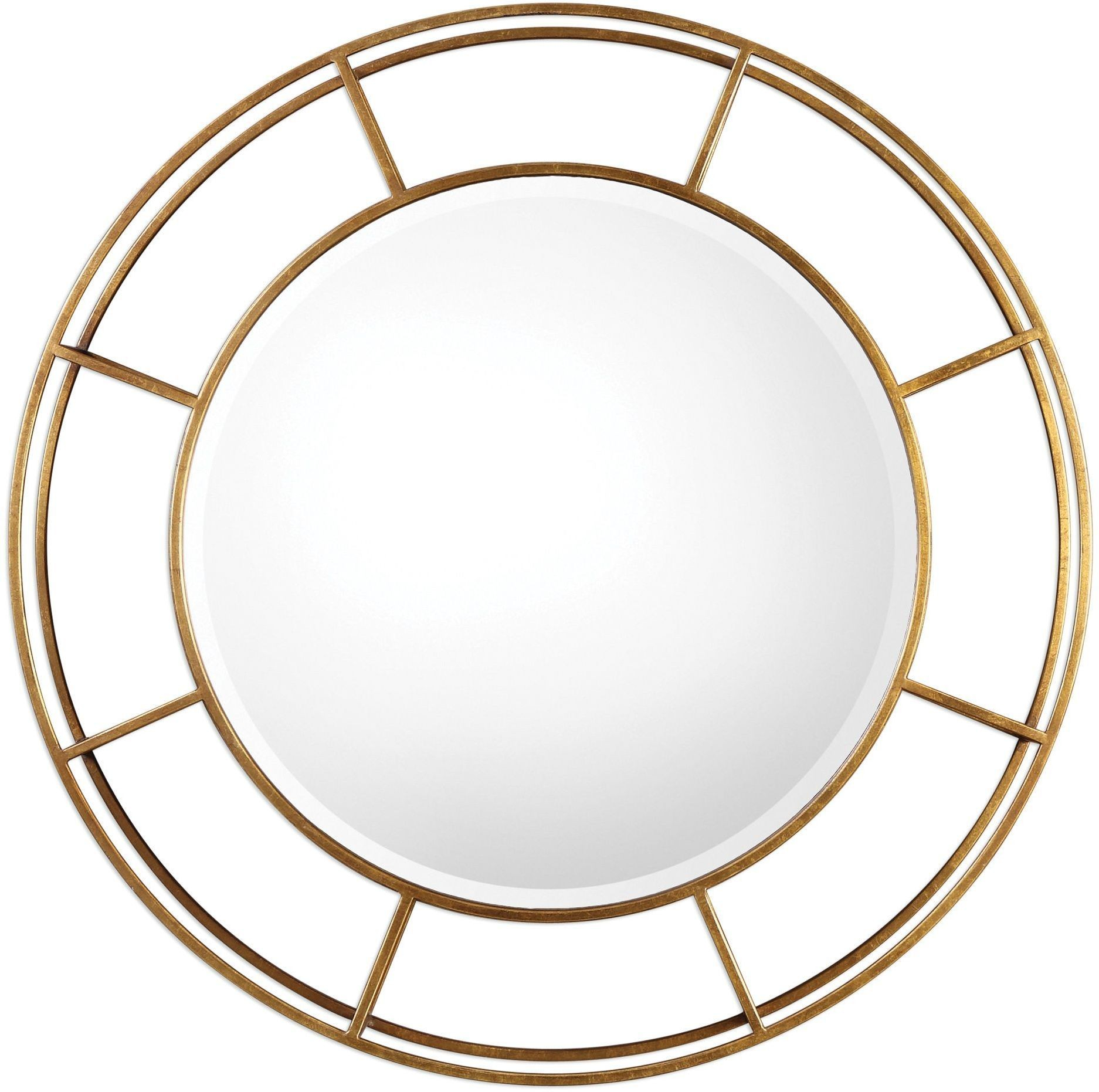 Salleron gold round mirror 09147 uttermost for Round mirror