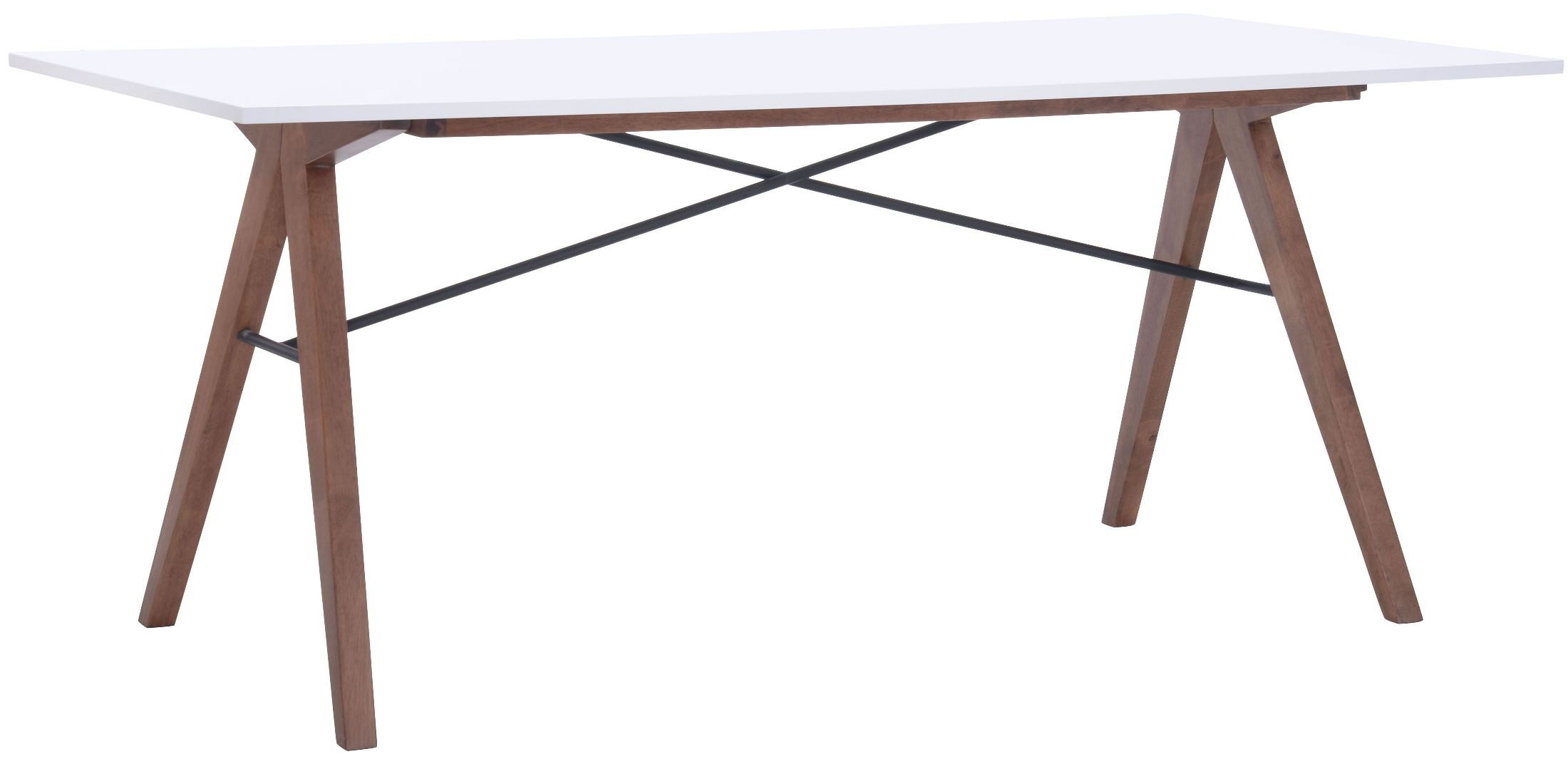 Saints Walnut White Rectangular Dining Table From Zuo Mod 100143