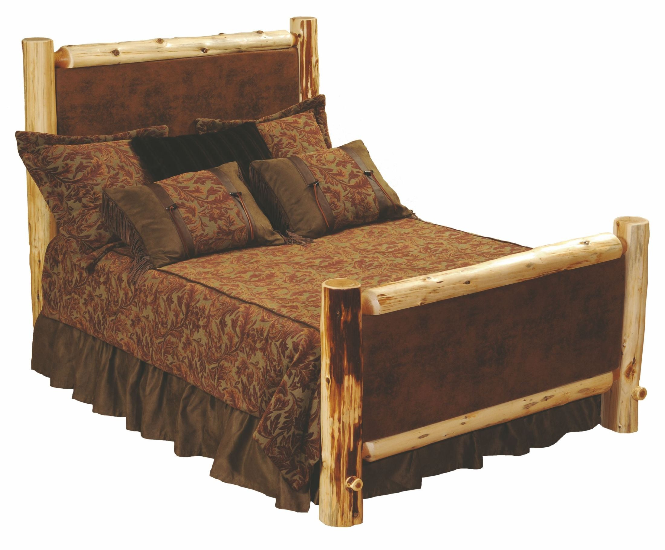 Traditional Cedar Leather Upholstered Bedroom Set from