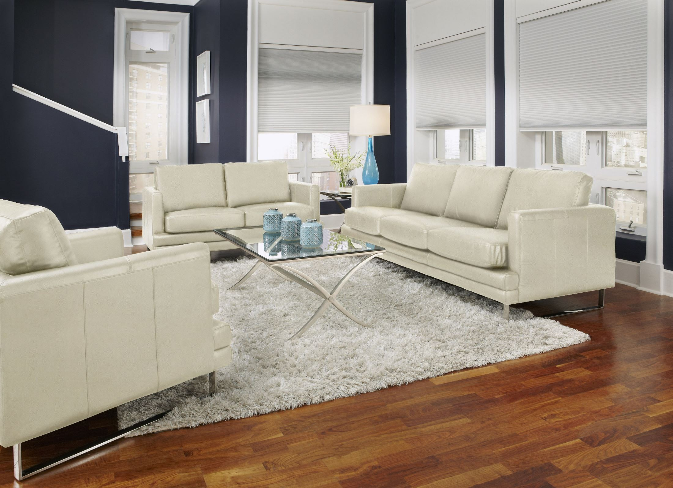 Melbourne White Leather Living Room Set From Lazzaro Wh