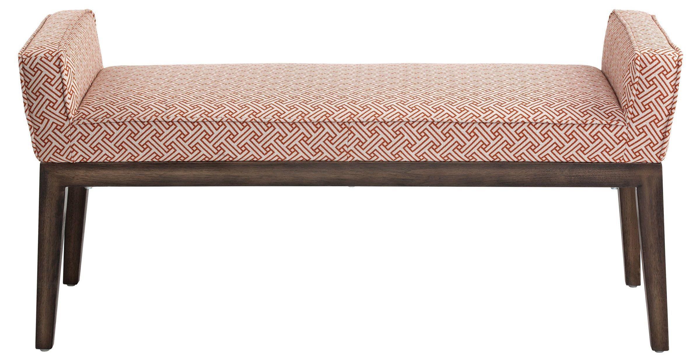 Harrod Stencil Orange Fabric Bench From Sunpan 100389 Coleman Furniture