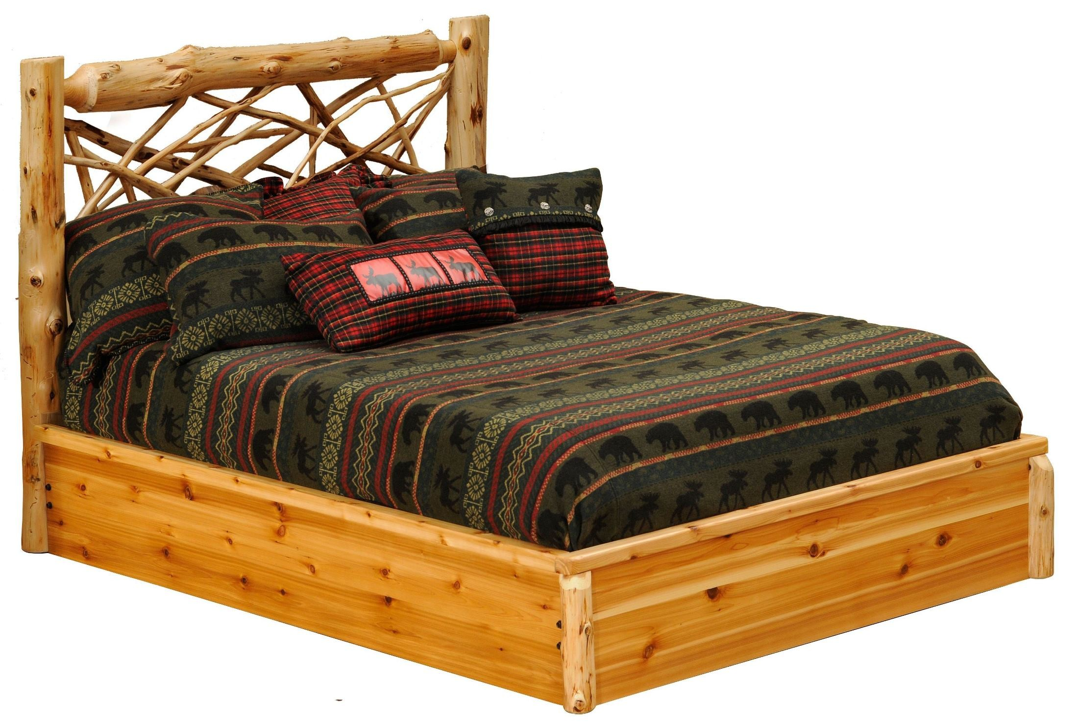 Cedar Twin Twig Platform Bed from Fireside Lodge (10103-PF) | Coleman ...