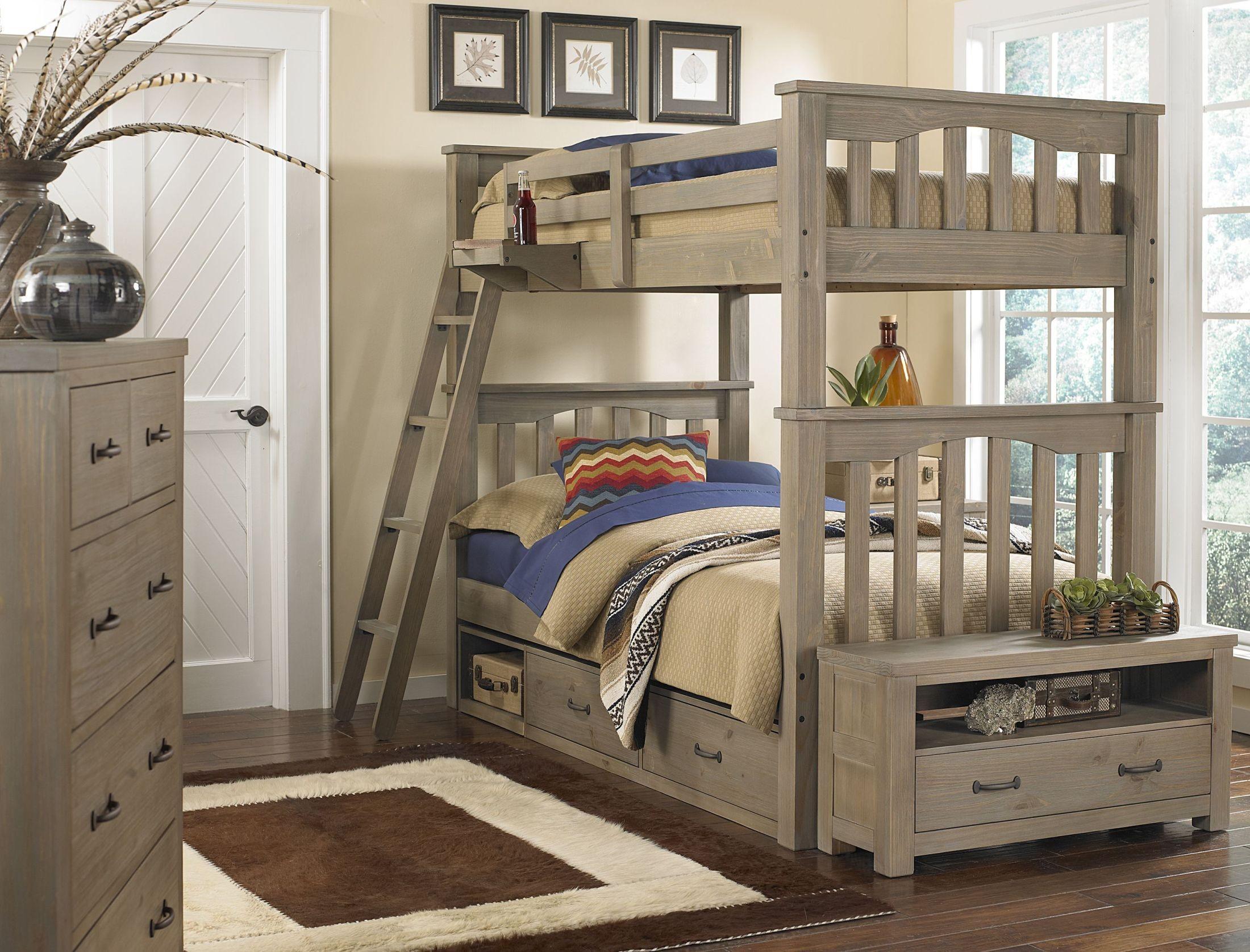 highlands harper driftwood youth storage bunk bedroom set