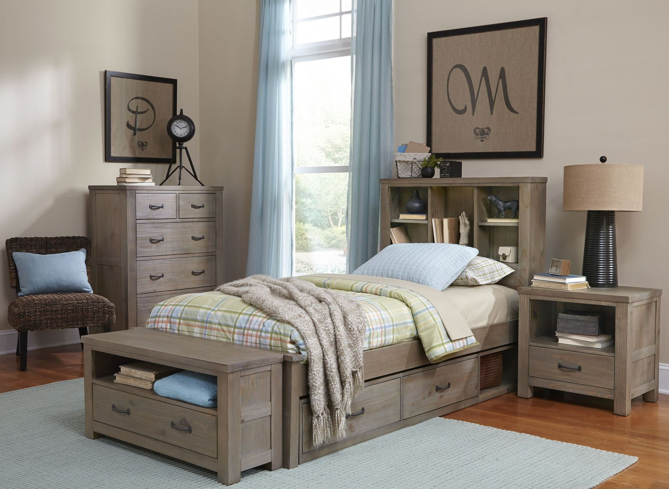 Highlands Driftwood Bookcase Youth Panel Bedroom Set With Two Storage Units