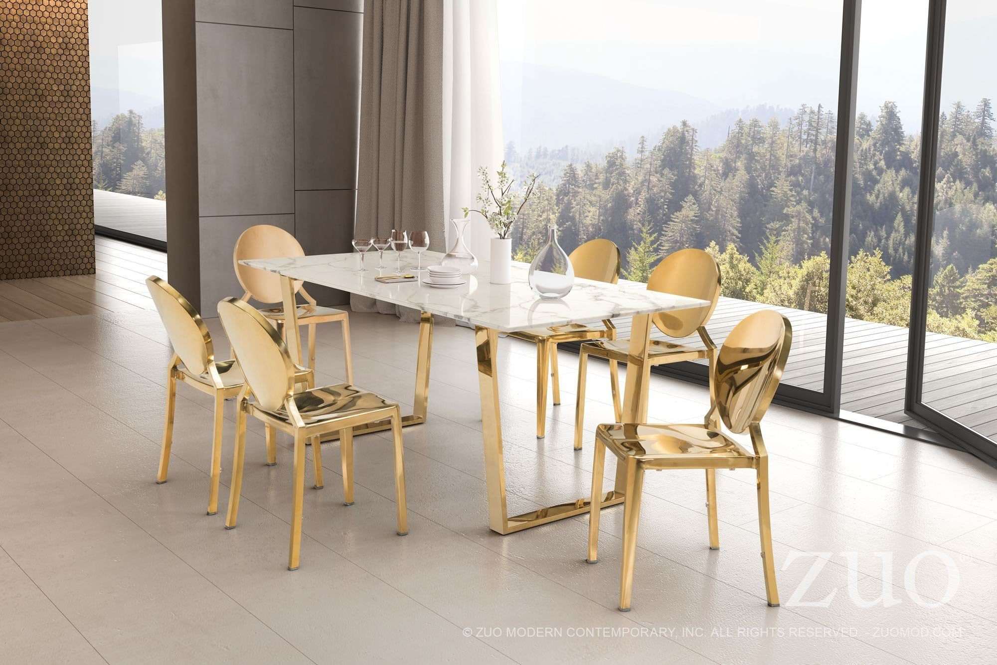 Gold Dining Tables ~ Atlas stone and gold dining table zuo modern