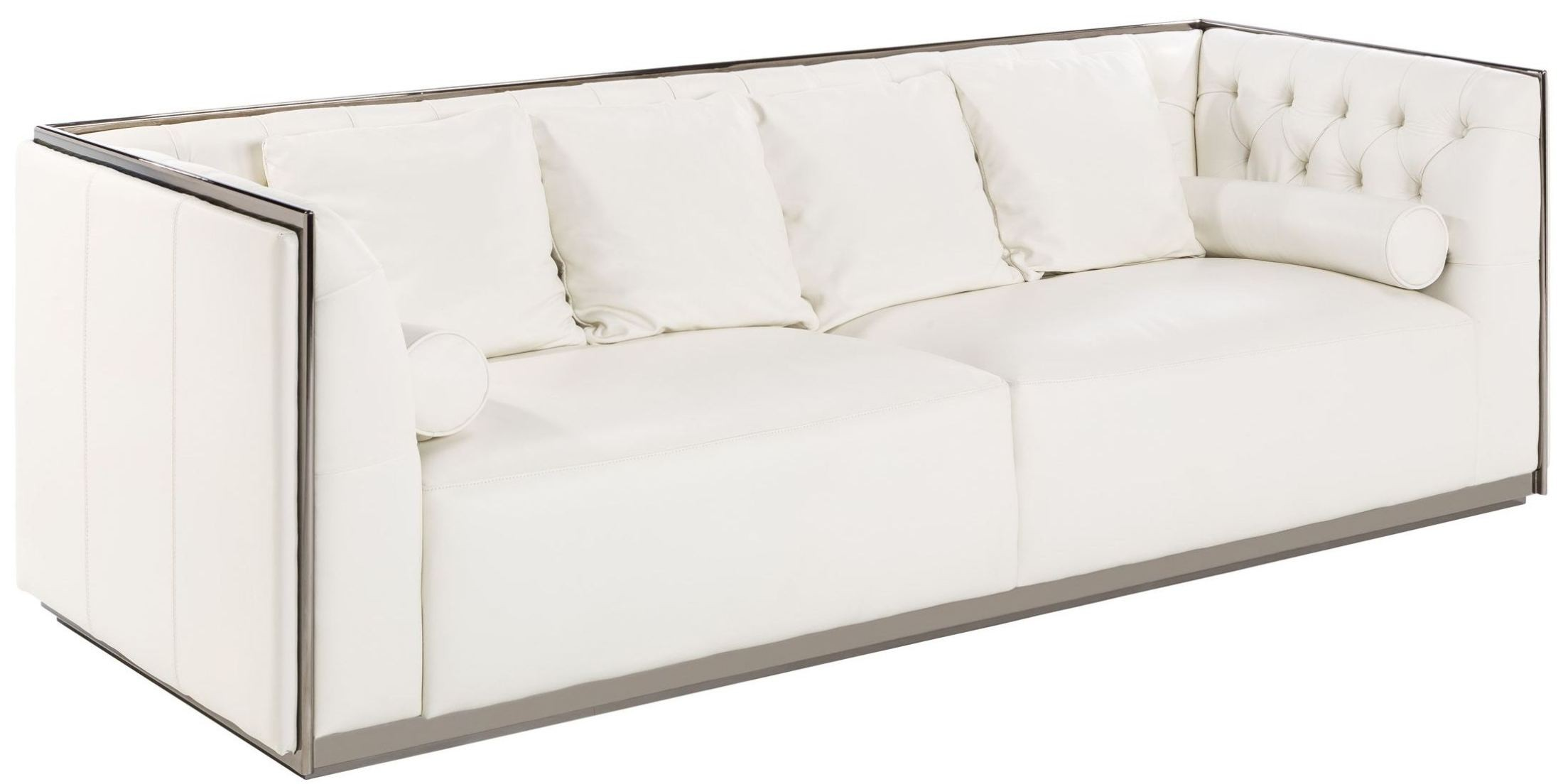 Maxime white and black stainless steel frame leather sofa 100683 sunpan modern home Steel frame sofa