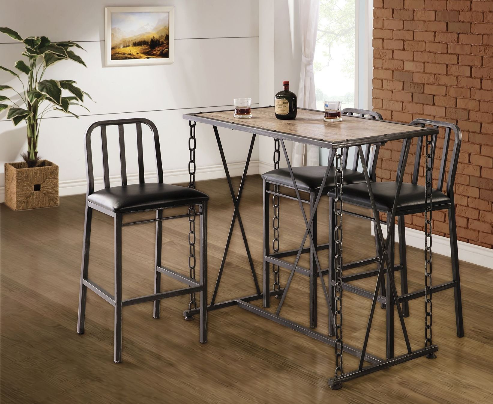 Dark Rustic Bar Set 100692 Coaster Furniture