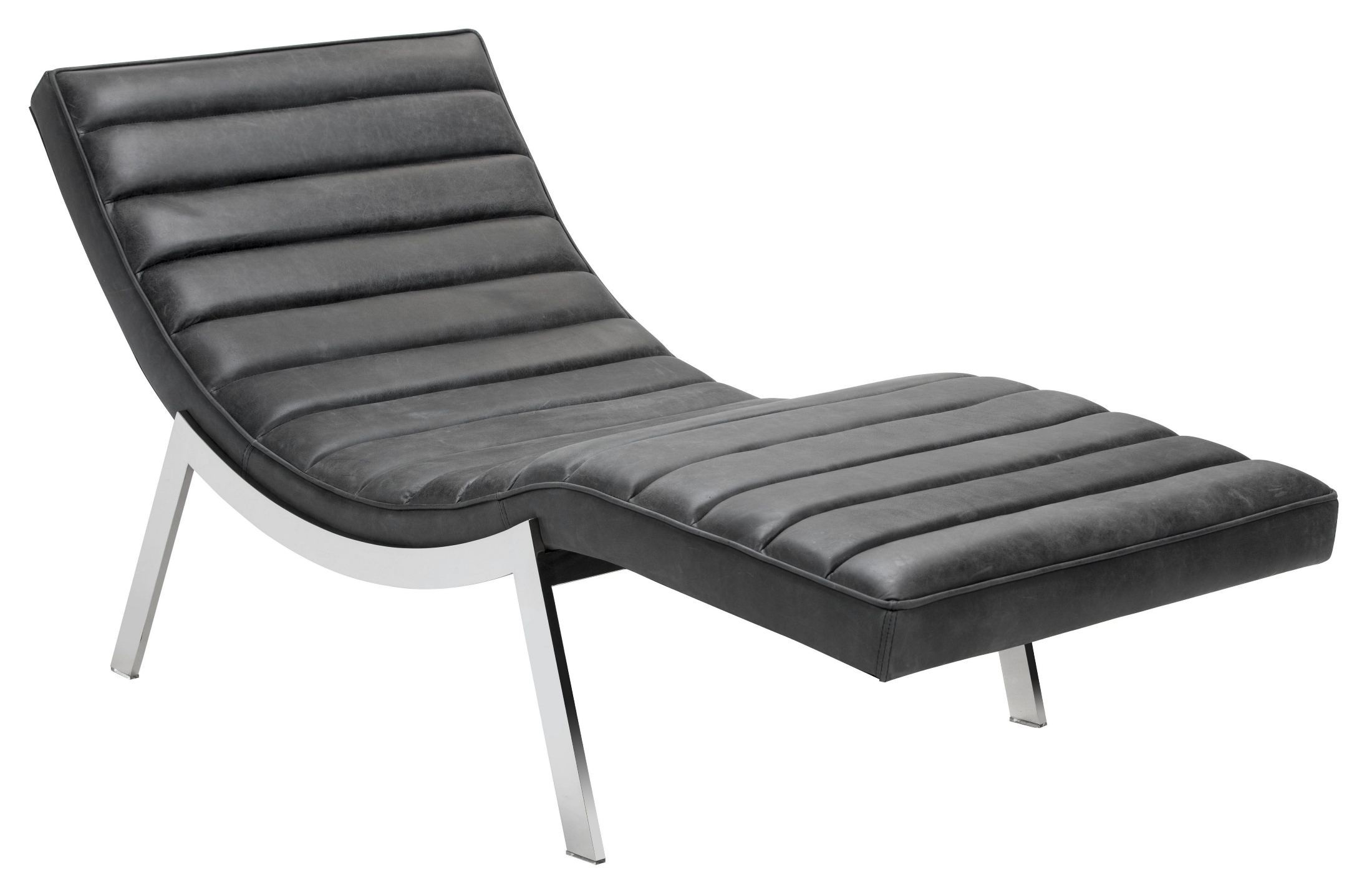 Benedict profundo black leather chaise 100719 sunpan for Black leather chaise