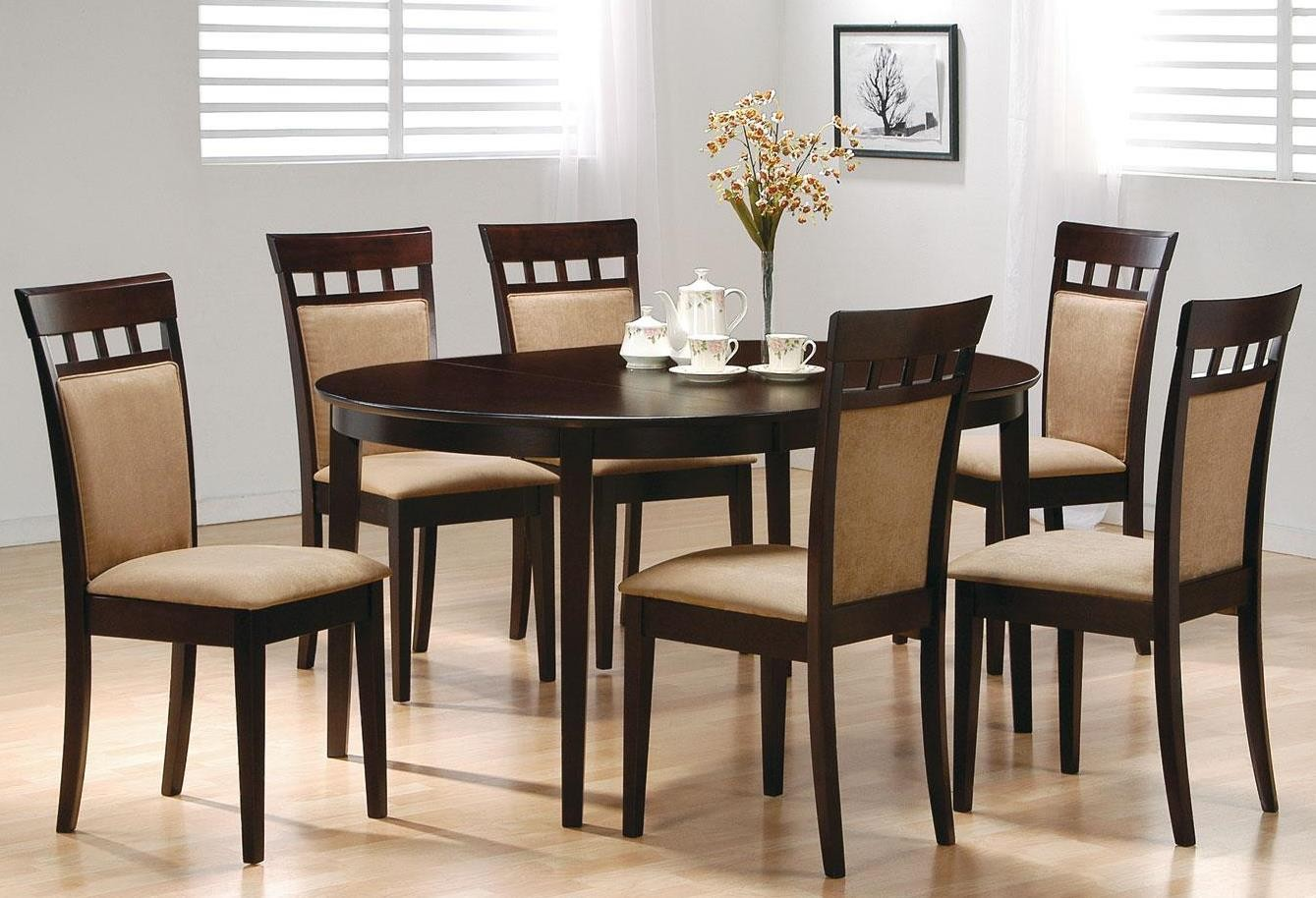 mix match cappuccino oval dining room set from coaster 100770