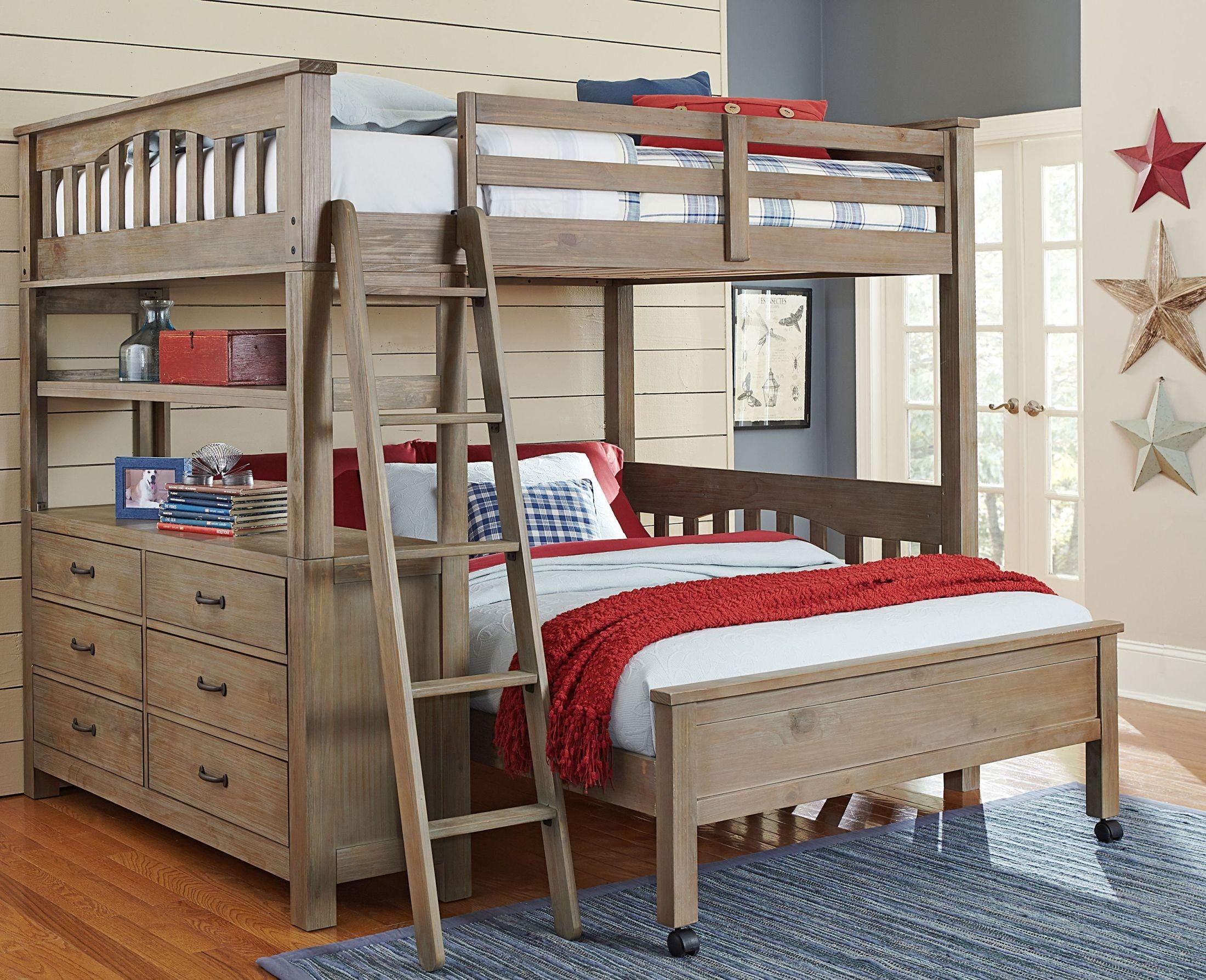 Highlands Driftwood Full Loft Bed With Full Lower Bed 10080NLFB NE Kids