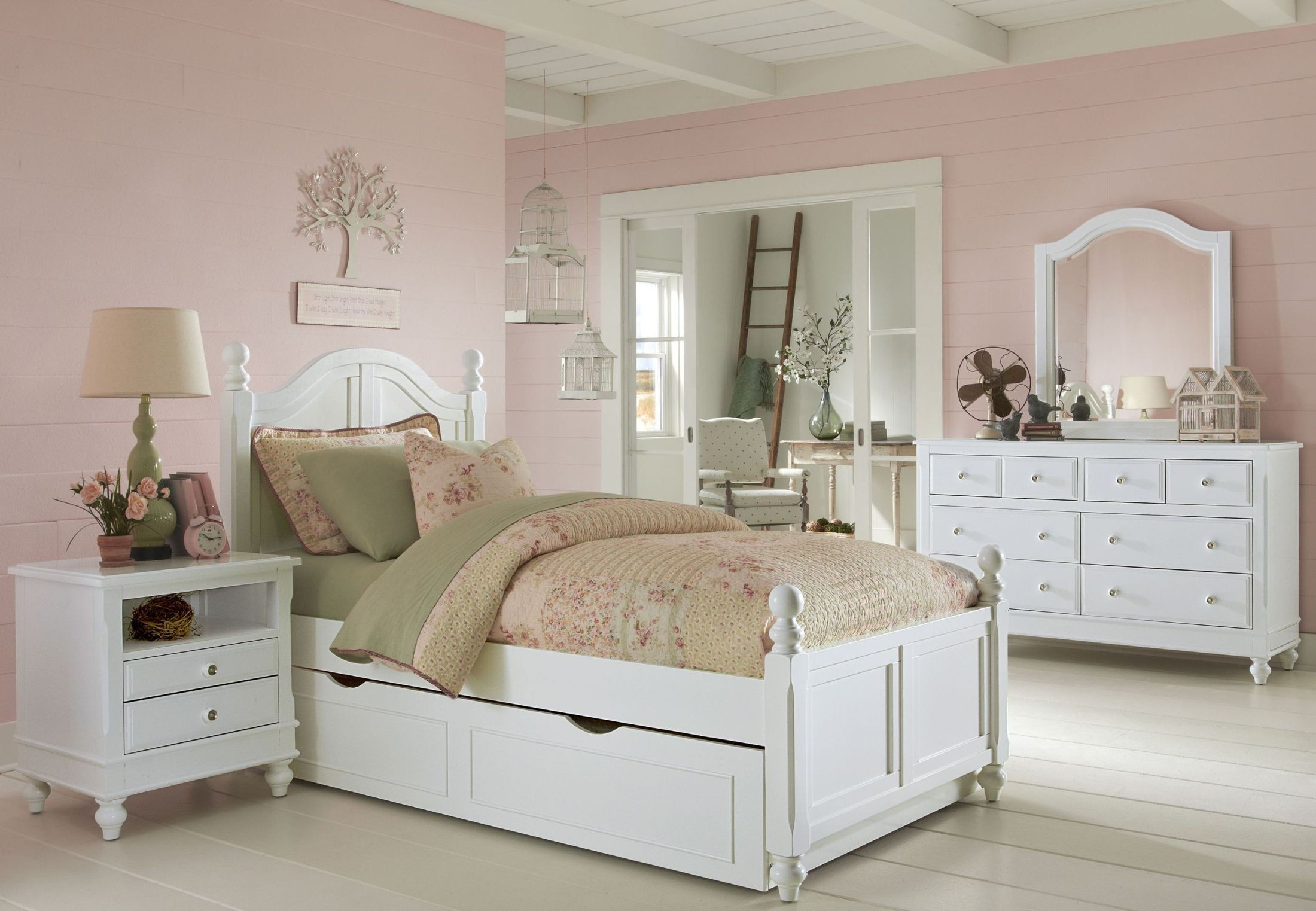 Lake house white payton youth panel bedroom set with trundle 1010nt ne kids Lake home bedroom furniture