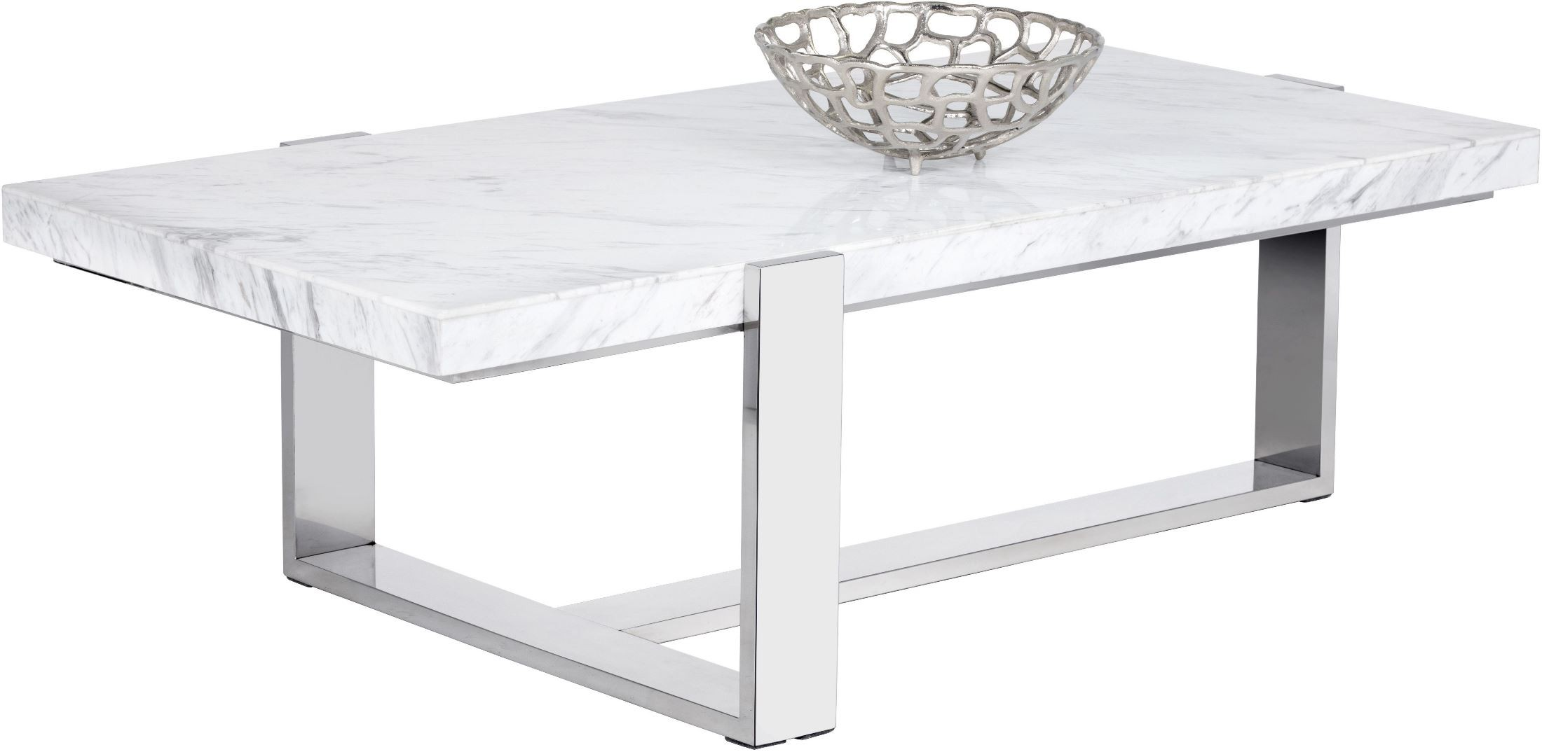 Tribecca white marble rectangular coffee table 101294 for Marble top coffee table rectangle