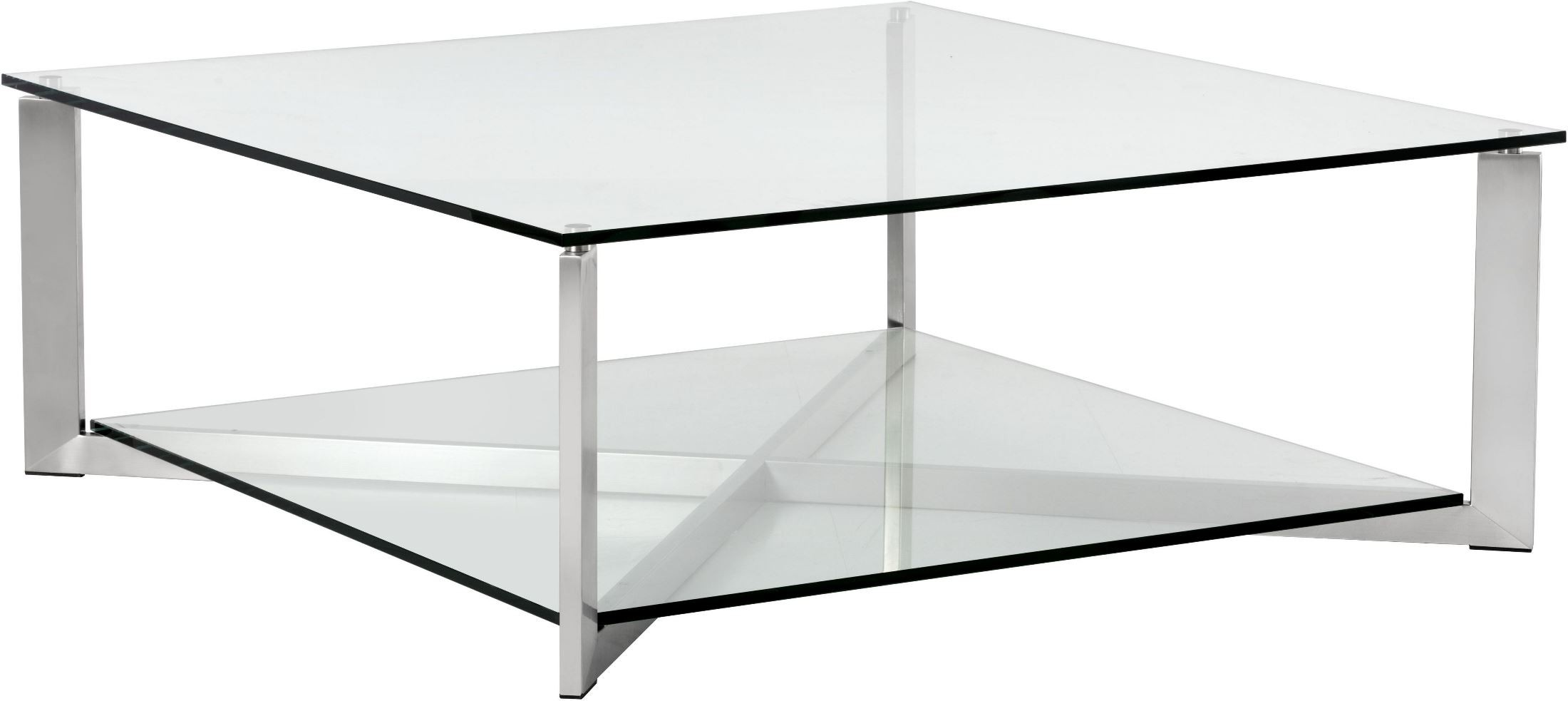 Xavier brushed stainless steel square coffee table 101489 sunpan modern home Metal square coffee table