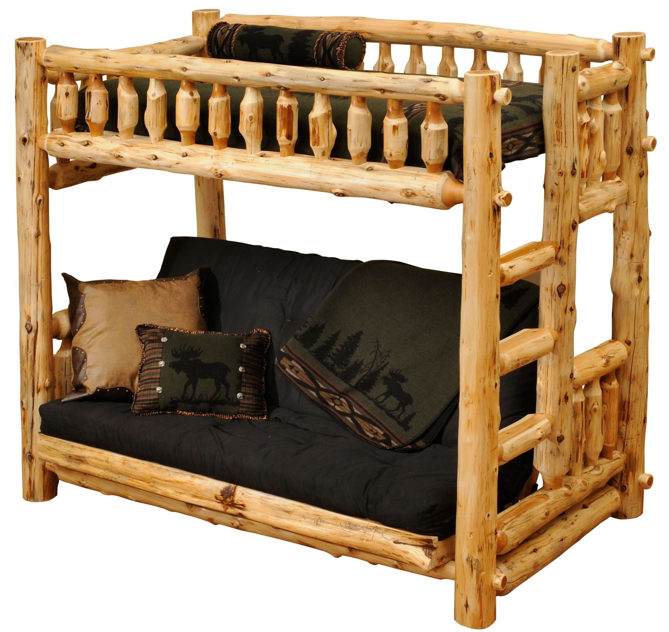 Cedar twin over futon log bunk bed from fireside lodge for Log loft bed
