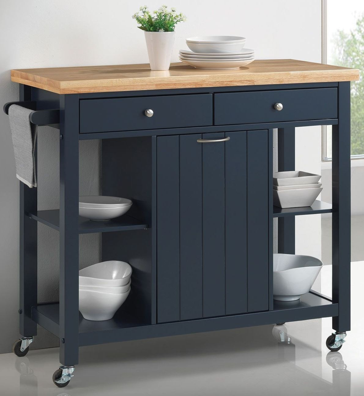 41 Quot Natural And Navy Blue Kitchen Cart 102675 Coaster